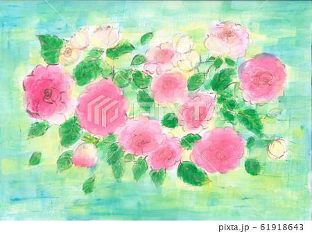 ピンクの大きなバラとエメラルドブルーの背景 61918643