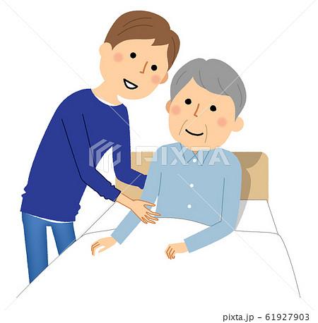 就寝する高齢者 介護 61927903