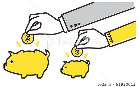本業と副業のイメージ、お金と貯金箱 61930012
