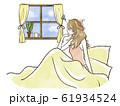 ベッドから窓の外を眺める女性-睡眠不足・体調不良 61934524
