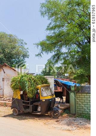 インド_トゥトゥクのある風景 61937965