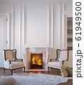 Classic white interior with fireplace, armchairs, moldings, wall pannel, carpet, fur. 3d render illustration mock up. 61949500