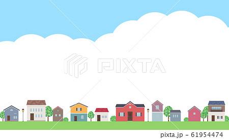 家の並んだ風景と空のフレームイラスト_16:9 61954474