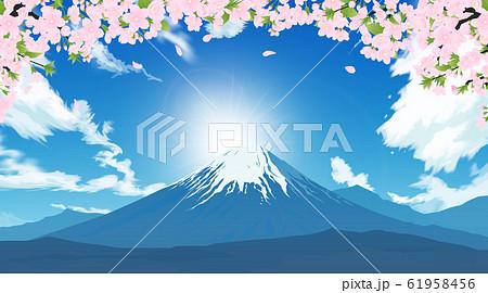 富士山と桜 61958456