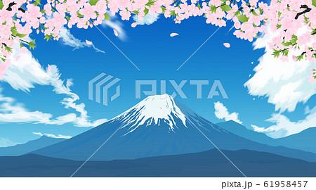 富士山と桜 61958457