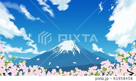 富士山と桜 61958458