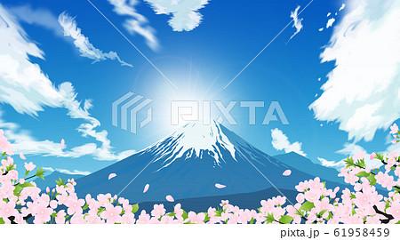 富士山と桜 61958459