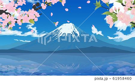 富士山と桜 61958460