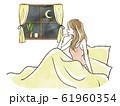 ベッドから窓の外を眺める女性-就寝前 61960354
