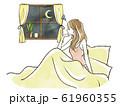 ベッドから窓の外を眺める女性-憂鬱 61960355