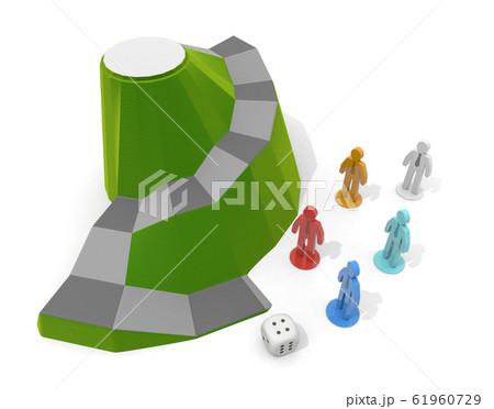 ビジネスマンのダイスゲーム。自然が舞台のボードゲーム。3Dイラスト 61960729