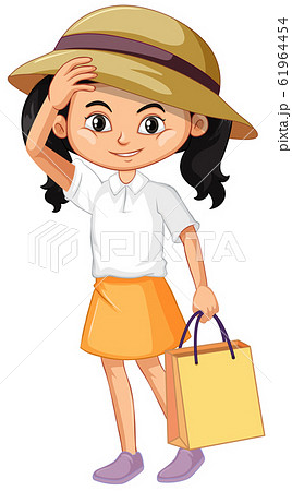 One happy girl with shopping bag 61964454