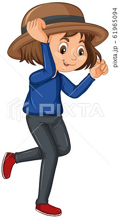 Girl in blue shirt on isolated background 61965094