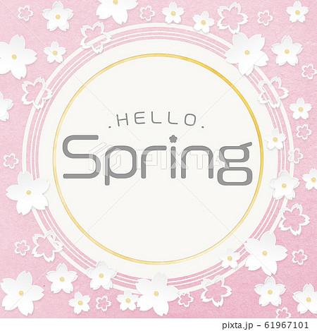 円-丸-Hello Spring-ペーパークラフト-桜 61967101