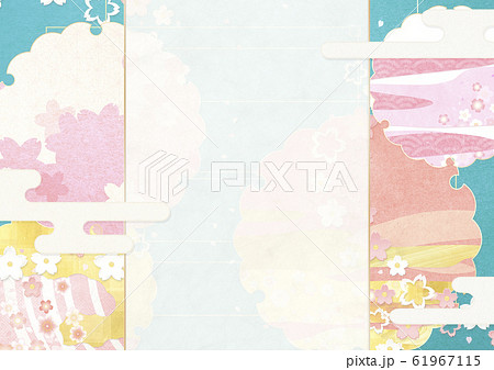 背景素材-フレーム-桜-雪輪-ピンク-春-和素材 61967115