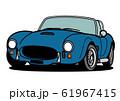 アメリカンヒストリックオープンカー 青色 自動車イラスト 61967415