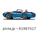 アメリカンヒストリックオープンカー 青色 自動車イラスト 61967417