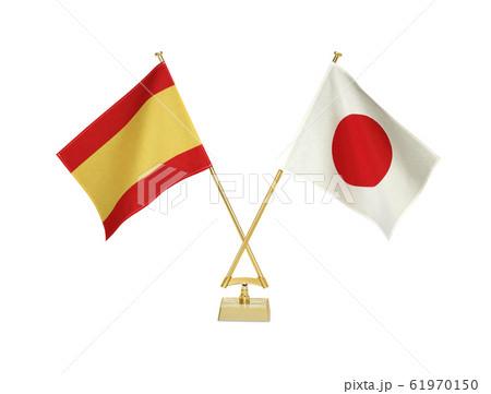 白背景の二つの卓上国旗 61970150