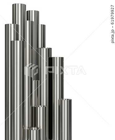 Steel pipes of isolated on white background. Glossy 3d rendering steel tubes design 61979927