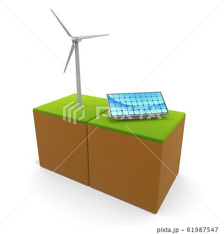 風力発電と太陽光パネル。自然環境を考える。エコなシステム。3Dイラスト 61987547
