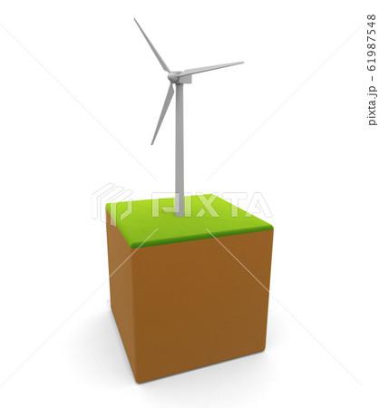 風力タービンのアイコン。風の力で発電する。自然のエネルギー。3Dイラスト 61987548