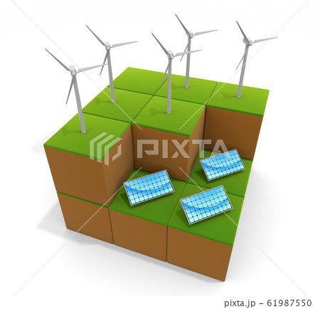 風の力で発電する。太陽光のエネルギー。自然環境のイメージ。3Dイラスト 61987550