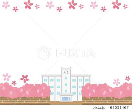 春 桜 フレーム 素材 学校 背景 青空 ベクター 手描き 62031467