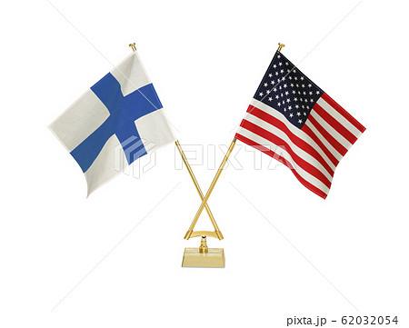 二つの国の卓上国旗 62032054