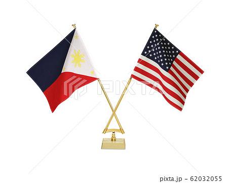 二つの国の卓上国旗 62032055