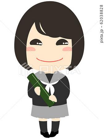 卒業式 卒業証書を持った女の子 賞状筒 62038828