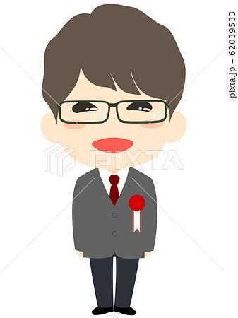 入学式 胸章を付けた新入生 男子 62039533