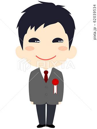 入学式 胸章を付けた新入生 男子 62039534