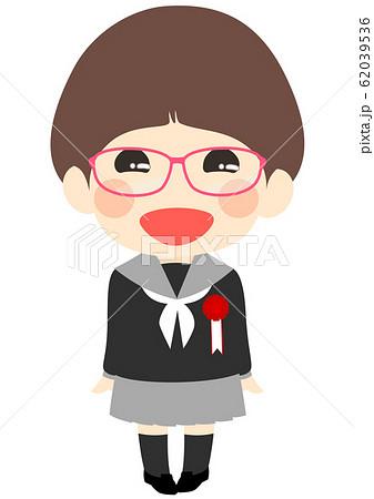 入学式 胸章を付けた新入生 女子 62039536