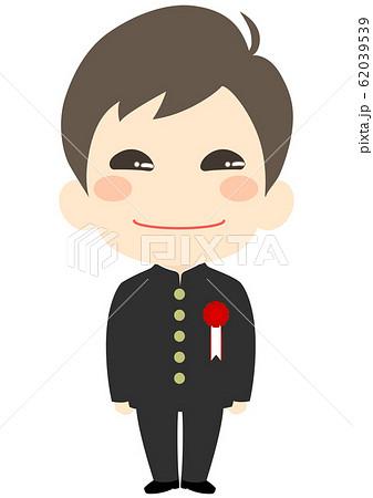 入学式 胸章を付けた新入生 男子 62039539