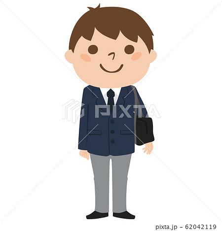 学生かばんを持った制服のブレザー姿の男子高校生のイラスト のイラスト素材