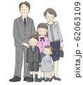 入学式 家族 男の子(両親、姉妹) 62063109