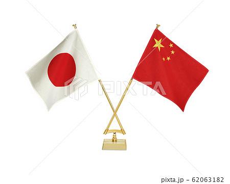 二国の卓上国旗 62063182