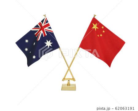 二国の卓上国旗 62063191