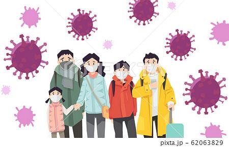 蔓延するウィルスに怯える人々 62063829