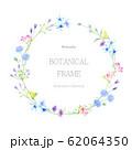 植物のリース 水彩イラスト 62064350