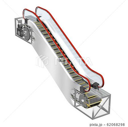 エスカレーターの内部構造、仕組みのイラスト 62068298