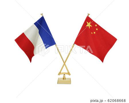 二国の卓上国旗 62068668