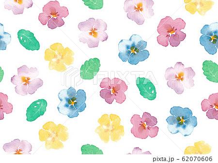 手描き水彩イラスト 花柄シームレスパターン 62070606
