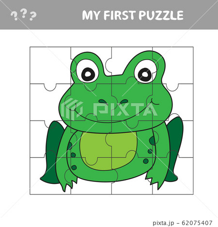 Education paper game for children, Frog. Use parts to create the image. 62075407