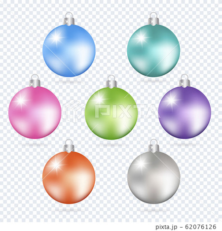 Colorful christmas balls. Set of isolated 3d 62076126