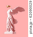 3D Model Of Winged Victory With Golden VR Glasses On Pink Background. Concept Of Art Inside Virtual Reality. 62090029