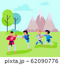 Group of people men women couples do karate aikido in open air outdoors vector illustration. Oriental martial arts training people sport activity in park. 62090776