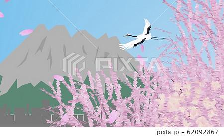 鹿児島の風景と鶴の飛行 62092867
