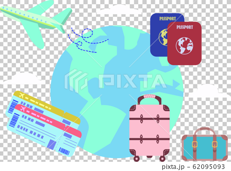 Travel airplane suitcase passport flight ticket illustration set 62095093