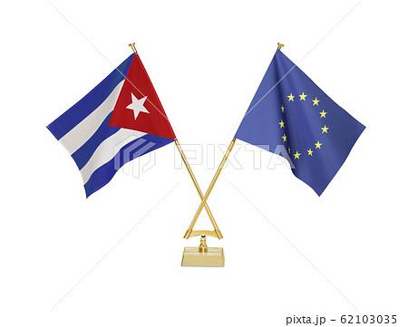 二つの国の卓上国旗 62103035